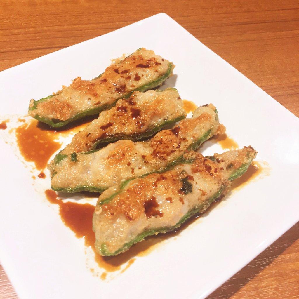 「ティム・ホー・ワン(添好運 / Tim Ho Wan)」の「白身魚とポークの甘長唐辛子焼き(680円)」