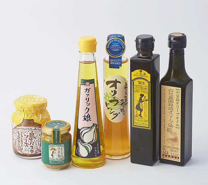新橋の「せとうち旬彩館」で販売している香川県産オリーブオイル関連商品。出典:せとうち旬彩館公式サイトより